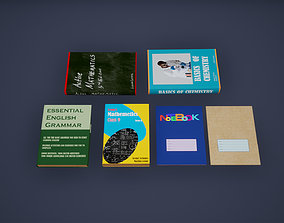 Books Low Poly Game Ready 3D asset