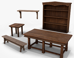3D model low-poly Wooden Furniture