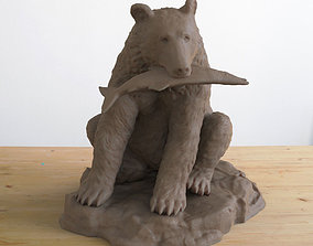 Grizzly Bear with Fish 3D print model