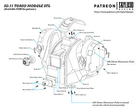 IG-11 Life Size Droid Torso 3D print ready STL - The