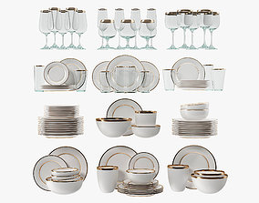 Modern glasses and plates 3D