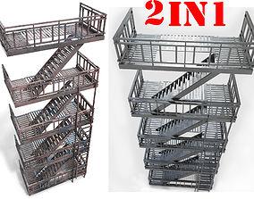 3D asset fire escape - PBR Game-Ready