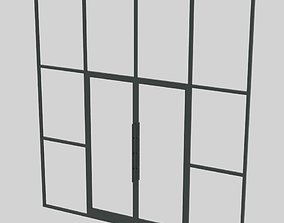 3D ARCHITECTURE STOREFRONT DOOR 4 PANEL WITH SIDE WINDOWS