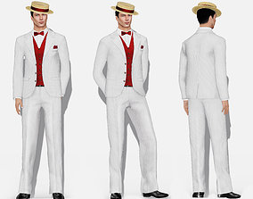 Mens Gatsby Full Stripe Formal Suit Hat and Shoes 3D model
