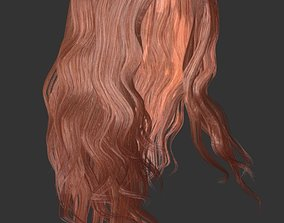3D asset low-poly Woman hairstyle