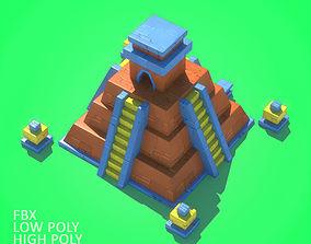 3D asset Mayan Pyramid Cartoon