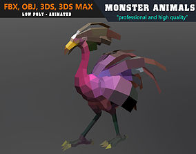 Low Poly Ostrich Cartoon Monster 3D Model animated 4
