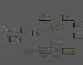 PBR Stone bricks low poly 3D model