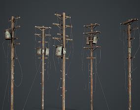 3D asset Power Pole Set PBR Game Ready