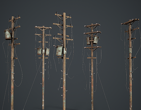 Power Pole Set PBR Game Ready 3D model