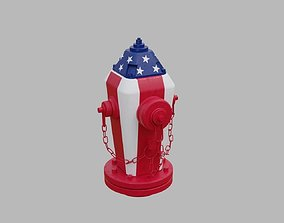 Fire Hydrant 19 - American Flag Patriotic 3D
