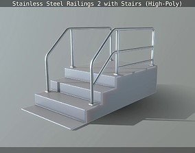 Stainless Steel Railings 2 with Stairs High-Poly 3D model