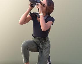 10622 Iona - Black Girl crouchnig taking foto 3D model