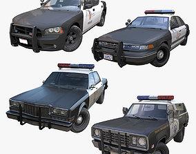 3D model American police cars