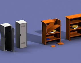 Post Apocalyptic Cupboard and Bookcase 3D model