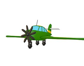 Cartoon Green Airplane 3D asset