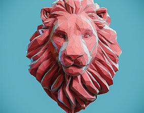 Low poly Lion Head Pendant Papercraft 3D print model