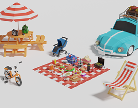 Simple Picnic Pack 3D asset