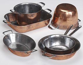 griddle Copper Cookwares Set 3D model
