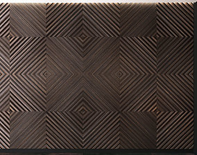wooden Wall Panel Set 8 3D model