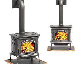 Wood burning stove log 3D
