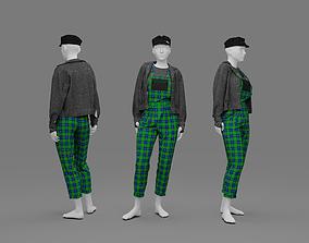 Female rock stile costume 3D model zprj