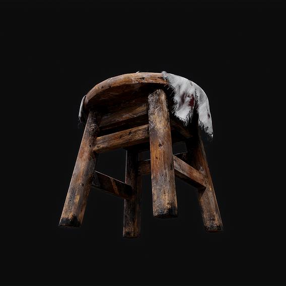 Old Wooden Damaged Stool
