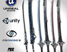 3D model game-ready Sci-fi Swords Pack 2