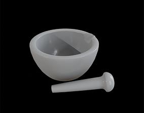 3D asset ApothecaryMortarAndPestle white marble