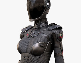 Female Cyborg 3D rigged