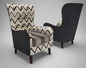 3D model Vintage fabric armchair