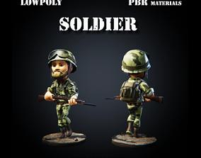 3D asset Low Poly Soldier PBR