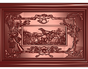The hunting dogs Bas relief 3D printable model