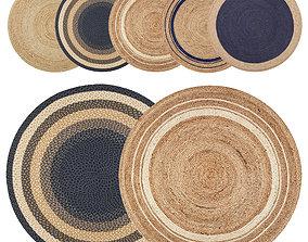 Round jute rug 3D model