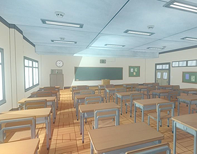 Anime Classroom - Game Props 3D model