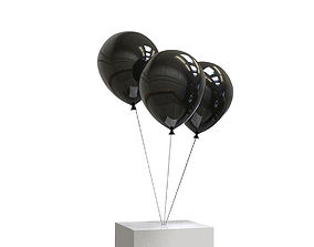3D Helium balloons and concrete cube