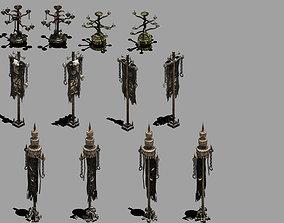 3D model House flagpole - candlestick