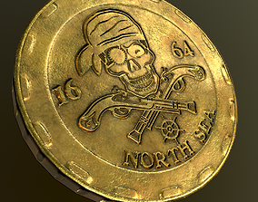 low poly coins 3 kinds 3D model VR / AR ready