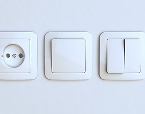3D model EU wall socket and light switch FREE