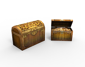 coins 3D model game-ready Treasure Chest