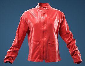 apparel Brown Jacket Golden Zippers 3D model