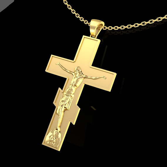Crucifix Pendant Jewelry Gold 3D print model