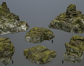 mossy rocks set 3D asset