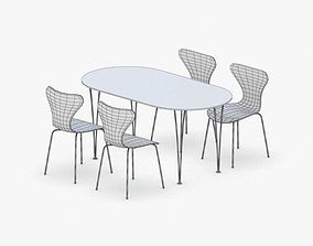 3D model 0142 - Table and Chairs Set