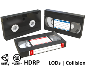 3D model Game-ready VHS Cassette - 3 texture variants