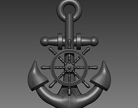 3D print model Anchor Sheep Wheel Pendant