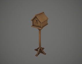 3D asset Wooden Garden Birdhouse
