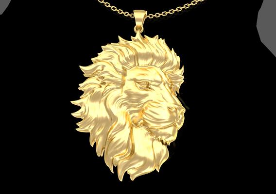 Head Male Lion Pendant jewelry Gold 3D print model
