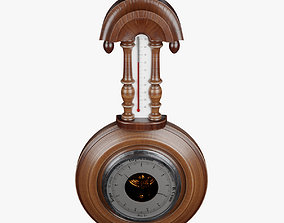 rain 3D model Old Barometer with Thermometer