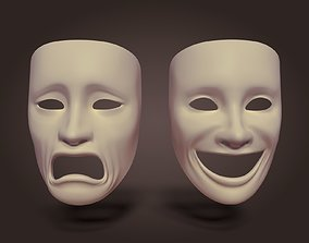 Theater Mask carnival 3D model game-ready